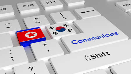 White keyboard with north and south korea key and the word communicate on the enter button 3D illustration Stok Fotoğraf