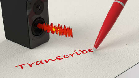 Loudspeaker standing on paper with a Chinese textured soundwave and a blue pen writing the word transscribe 3D illustration
