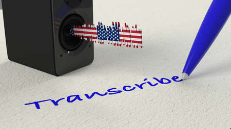 Loudspeaker standing on paper with a american flag textured soundwave and a blue pen writing the word transscribe 3D illustration Stok Fotoğraf