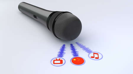 Black microphone emitting blue soundwaves leading to a tv note and chinese flag symbol voice over concept 3D illustration
