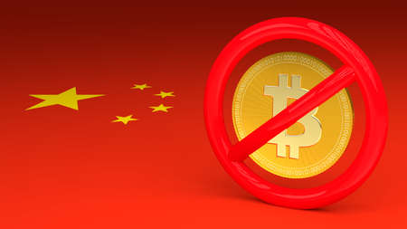 Prohibitive sign with a bitcoin inside on a Chinese flag 3D illustration Stok Fotoğraf
