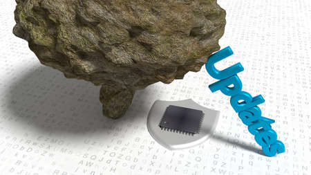 The word updates supporting a big stone which is about to crush a chip on a random letter floor cybersecurity concept 3D illustration Stok Fotoğraf