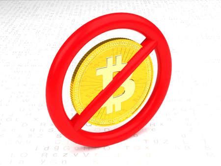 Prohibitive sign with a bitcoin inside on a random letter floor 3D illustration