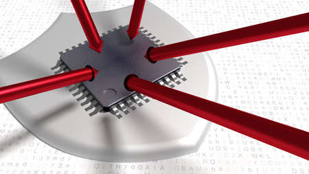 Red steel arrows trying to hit a cpu on a shield placed on a random white letter background cybersecurity concept 3D illustration