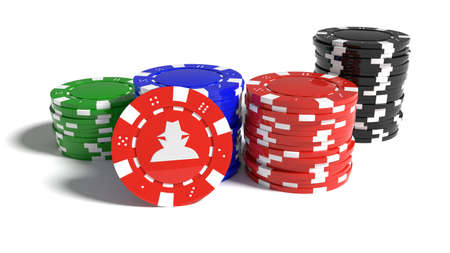 Piles of differently colored poker chips with one standing out showing a hacker symbol security risk concept 3D illustration