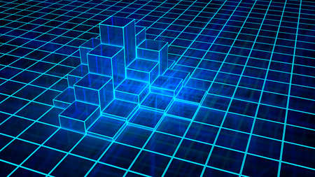 Glowing blue grid with a pile of elevated pillars 3D illustration Stok Fotoğraf