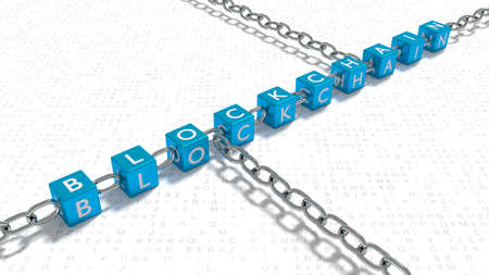 Blue cubes with the word blockchain linked with metal chains on random letter floor 3D illustration