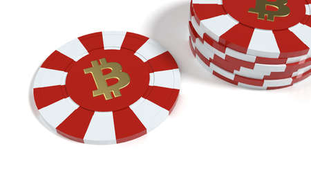 Simple poker chip on white with Bitcoin symbol 3D illustration