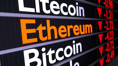 Stock wall with cryptocurrencies and highlighted orange Ethereum business concept 3D illustration