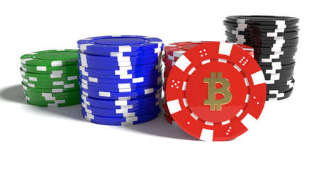 Piles of differently colored poker chips with one standing out showing a bitcoin symbol risk concept 3D illustration