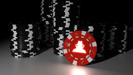 Piles of black poker chips in the dark with one red hacker chip standing in front cybersecurity risk concept 3D illustration