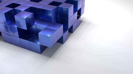Pile of blue metallic cubes structure on white floor 3D illustration