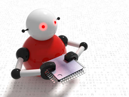 Robot standing on random letter floor with red glowing eyes holds cpu 3D illustration