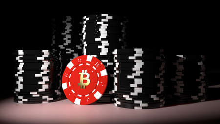 Piles of black poker chips in the dark with one red bitcoin chip standing in front cryptocurrency risk concept 3D illustration Stok Fotoğraf