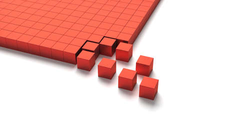 Flat layer of red cubes with some leaving the pattern 3D illustration