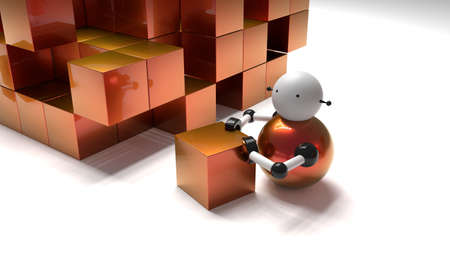 Little robot pushing a cube into a pile of boxes artificial intellicence concept 3D illustration
