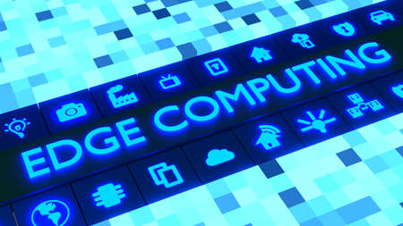 Glowing cubic landscape with the word edge computing surrounded by symbols 3D illustration
