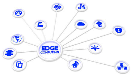 Circular ketwork of symbols connected to a center showing the words edge computing 3D illustration 版權商用圖片