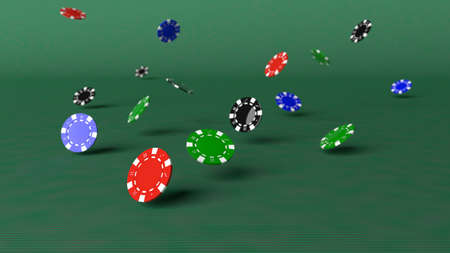 Poker chips falling down on a green table 3D illustration