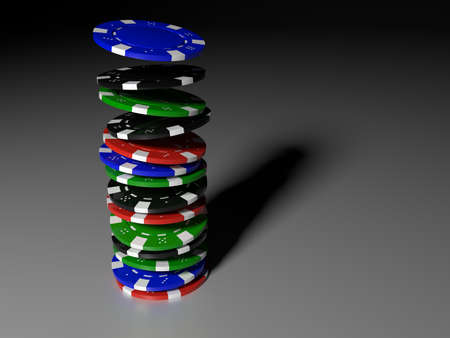 Pokerchips falling onto a stack on a white table in dark environment 3D illustration Stok Fotoğraf