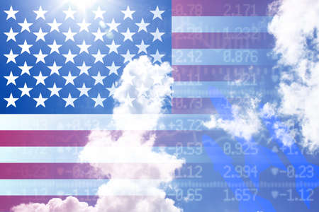 American flag on a stockwall shining through with rocket shapes and cloudes trade war concept