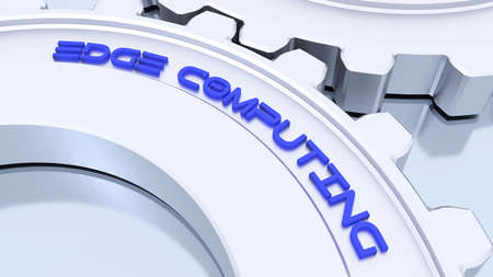 Two connected metal gears showing the word edge computing 3D illustration Stok Fotoğraf