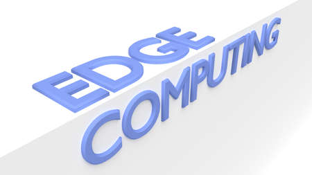 The words edge computing on a white edge technology 3D illustration Reklamní fotografie