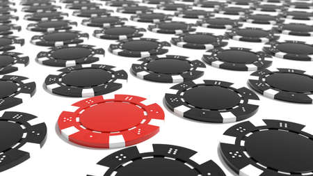 Grid of black poker chipts on white floor with one red standing out from the crowd 3D illustration