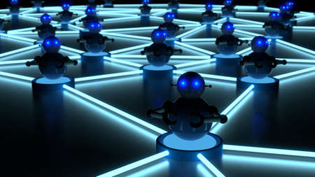 Network of blue platforms in the dark with bots on top botnet cybersecurity concept 3D illustration Stock fotó