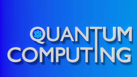The white word quantum computing on a gradient blue wall with an atom symbol 3D illustration