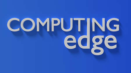 Edge computing 3D illustration white word on a gradient blue wall