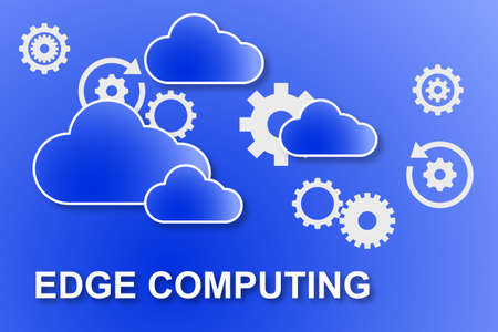 Edge computing illustration with blue clouds and white gears on a gradient blue background Foto de archivo