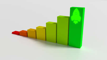 Bar chart on white with a glowing rocket starting from the highest green chart 3D illustration