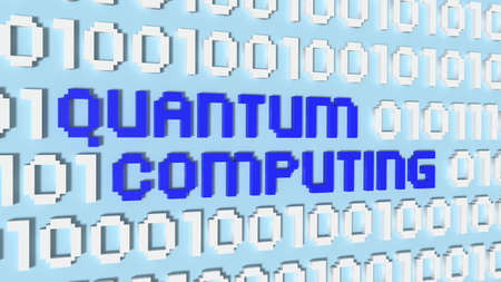 Light blue wall wil binary streams quantum computing concept 3D illustration Stock Photo