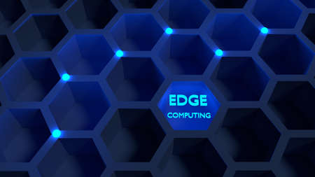 Honeycomb network with blue glowing nodes edge computing concept 3D illustration