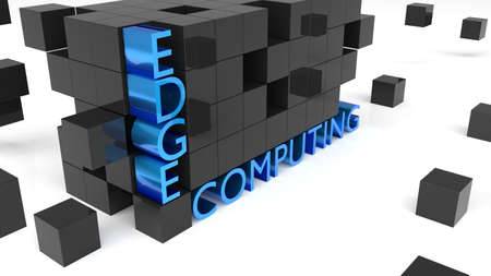 Wall of black cubes holding the word edge computing on white technology concept 3D illustration Stok Fotoğraf