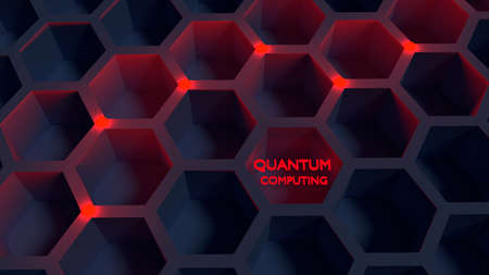 Black honeycomb net with red glowing nodes quantom computing concept 3D illustration