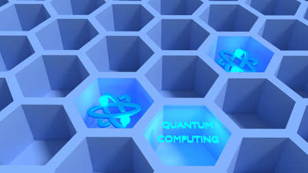 Blue honeycomb net with glowing atom symbols quantum computing concept 3D illustration