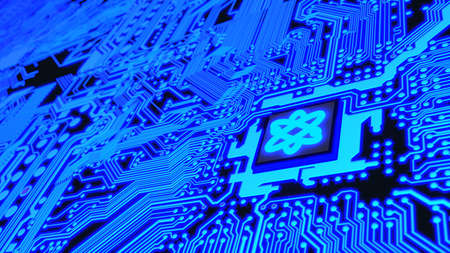 Circuit board in blue with a chip and a molecule symbol quantum computing 3D illustration