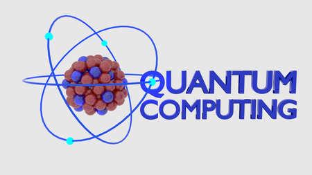 Quantum computing concept molecule on white 3D illustration