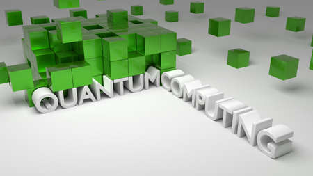Wall of green metallic cubes on white with boxes floating quantum computing concept 3D illustration
