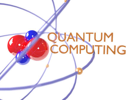 Quantum computing concept red and blue molecule on white 3D illustration