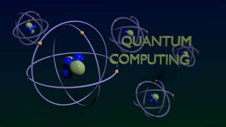 Quantum computing concept green and blue molecules on dark background 3D illustration