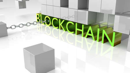 Fat green metallic letters showing the word blockchain surrounded by grey reflecting cubes 3D illustration