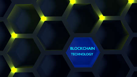 Glowing yellow nodes on a honeycomb structure blockchain concept 3D illustration Stok Fotoğraf