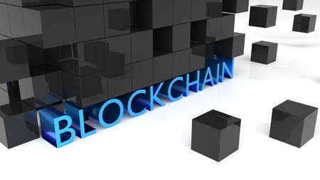 Fat blue metallic letters showing the word blockchain surrounded by black reflecting cubes 3D illustration Stok Fotoğraf