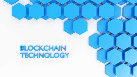 Blockchain technology concept blue hexagon tiles on white 3D illustration Stok Fotoğraf