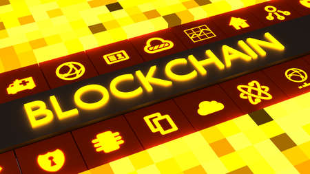 Yellow cube grid with the glowing word blockchain in the middle and corresponding icons 3D illustration