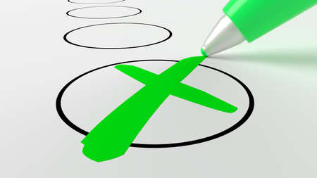 Green pen putting a cross in a circle on a checklist 3D illustration Reklamní fotografie - 101430617
