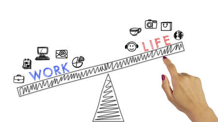 Womans hand with red fingernails pushing a sketched seesaw up work life balance concept Stok Fotoğraf
